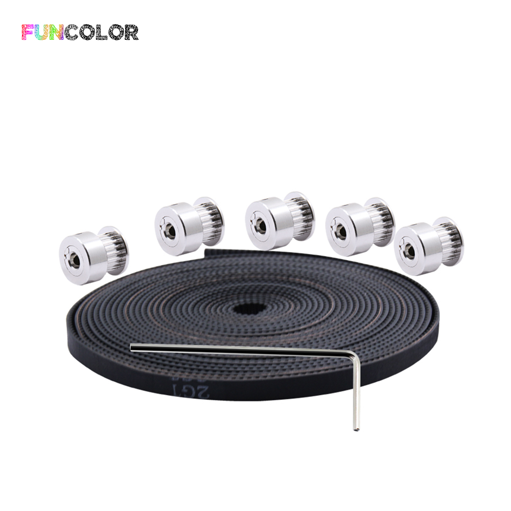 Funcolor 5PC 20 Teeth Width 6mm Bore 5mm Timing Pulleys+1PC 5m GT2 Belt+1PC 2mm Wrench for 3D Printer Parts Kit