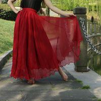 2 Layer Chiffon Long Skirts For Women Elegant Casual High Waist Boho Style Beach Maxi Skirts Saias 80/90/100cm Spring Big Hem