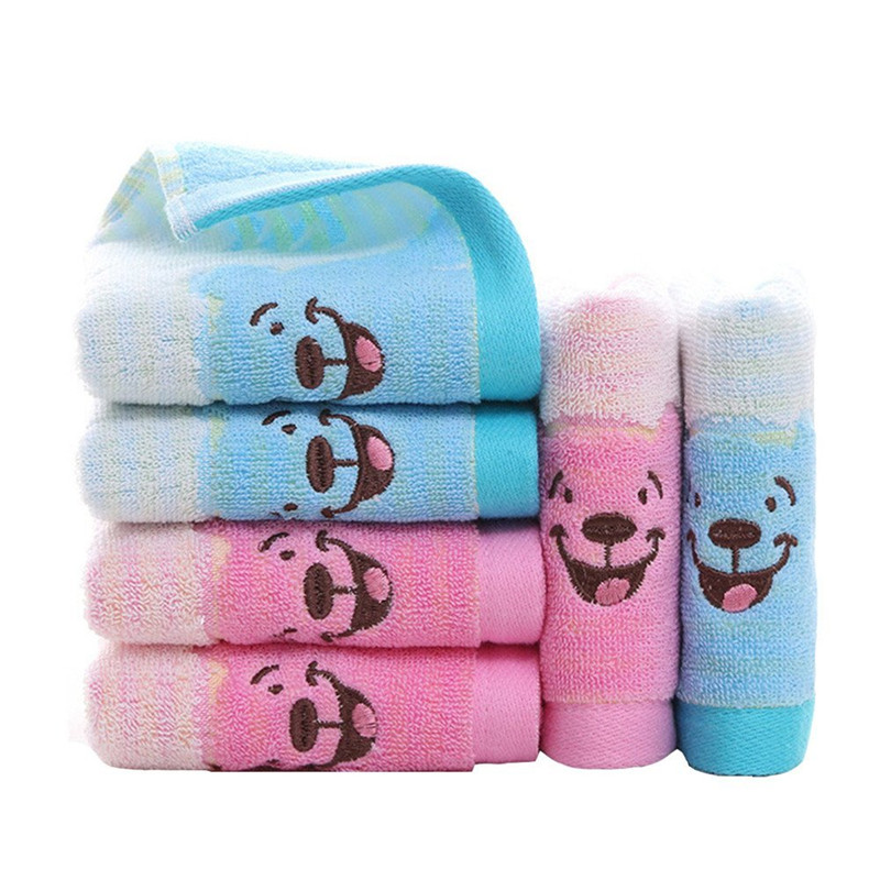 2 Pcs Cute Bear Baby Face Towels Pure Cotton Newborn Boys Girls Hand Towel Infant Baby Wiping Washcloths, Absorption,25*50cm
