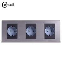 16A EU Standard Triple Oulet Luxury Wall 3 Way Power Socket Enchufe Brushed Silver Panel Electrical