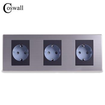 Coswall 16A Standard UE Presa Tripla Presa Da Parete Lusso 3 Vie di Alimentazione Enchufe Spazzolato Argento Pannello Presa Elettrica AC 110 ~ 250 V