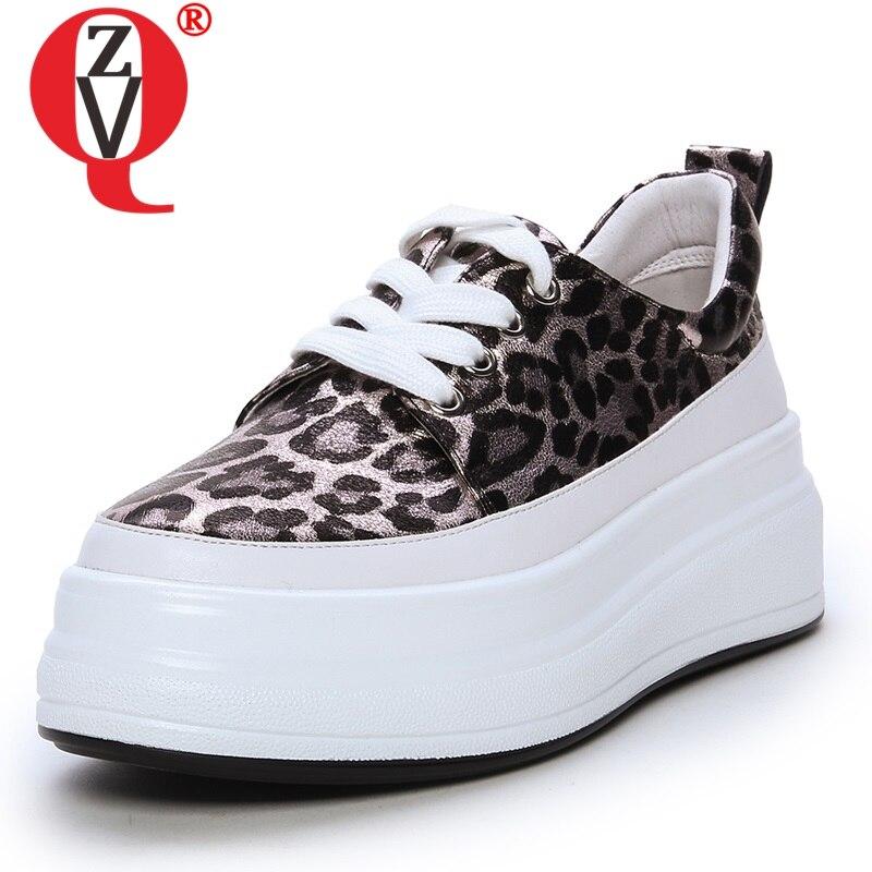 ZVQ chaussures femmes 2019 printemps nouvelle mode léopard bout rond de haute qualité en cuir véritable femmes pompes med wedges chaussures à plate forme-in Escarpins femme from Chaussures    1