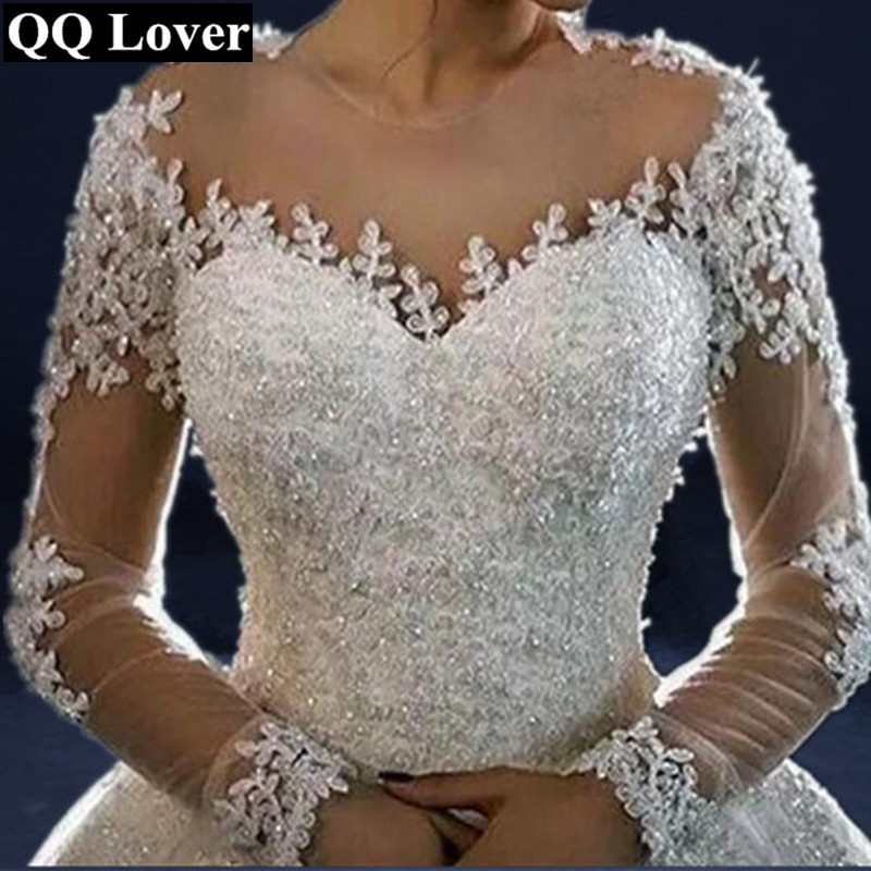 QQ Lover 2019 The Latest Skin Color Illusion Long Sleeves Lace Vestido De Noiva Bride Gown Custom made Plus Size Wedding Dresses-in Wedding Dresses from Weddings & Events