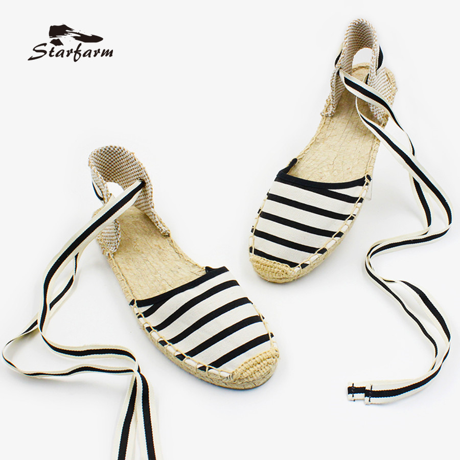 STARFARM Women Espadrilles White Black Striped Canvas Flat Shoes Ankle Strap Cotton Lining Fisherman Shoe Summer canvas espadrilles striped flat shoes