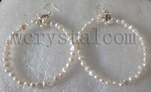 """2016 New Arrival Promotion Women Trendy Pearl Earings Hoop Earrings Genuine Natural Freshwater Pearls Bead Earrings Hoop 2"""""""