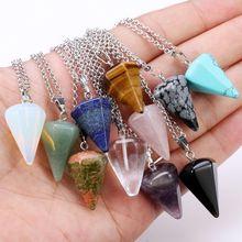 Reiki Pendulum Natural Stone Amulet Healing Tiger Eye Crysta
