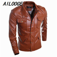 15 jaqueta de couro men jacket Leather clothing Washed leather casual high grade PU leather jacket Free shipping