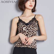 AOSSVIAO Tank Top Black V Neck Women Leopard Vest 2019 Summer New Clothes Casual Top Vest Female sexy top cami Black White khaki slip v neck cami top