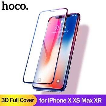 HOCO ل أبل فون X XSMax XR كامل HD المقسى زجاج عليه طبقة غشاء رقيقة واقي للشاشة واقية الغراء 3D كامل غطاء حماية الشاشة