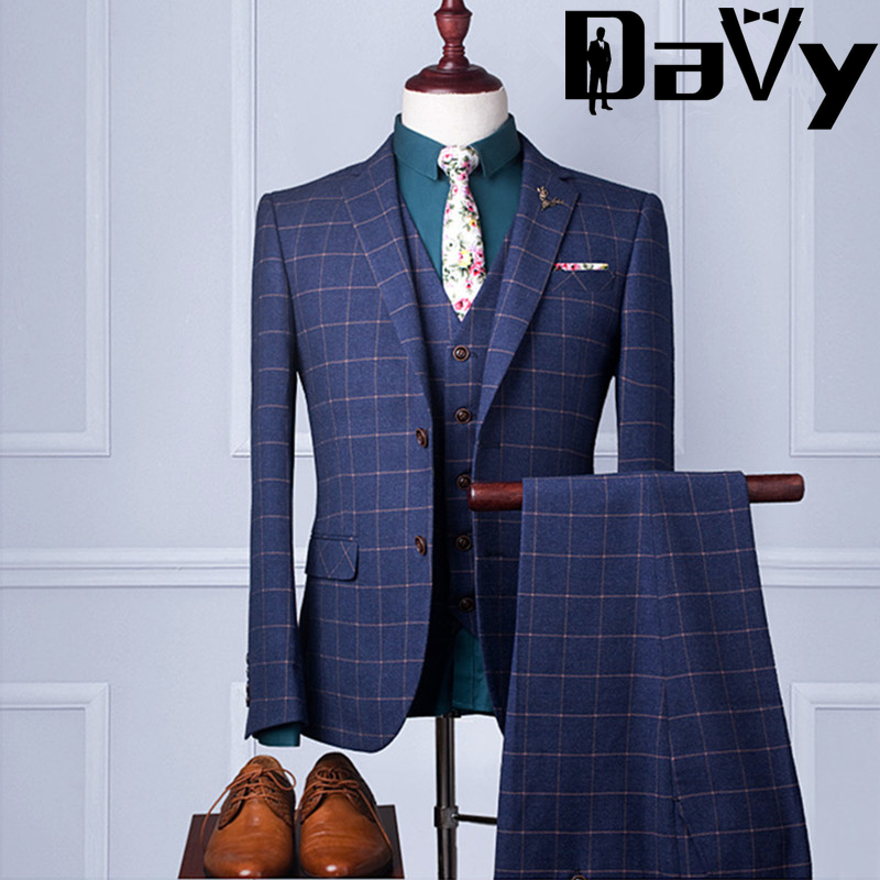 2017 blue plaid suits jacket formal dress men suit set men for Wedding dresses for men 2017