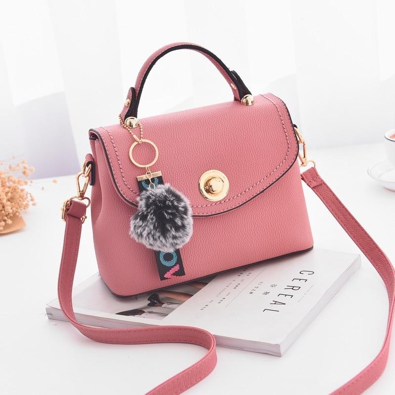 womens shoulder crossbody bag for 2018 summer fashion female mini pinky color handbag plush ball bolsa feminina little bag