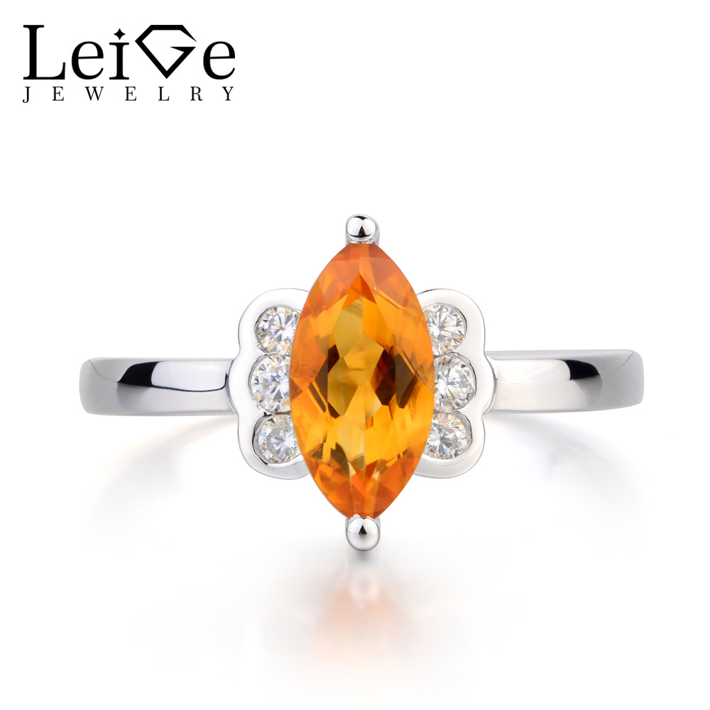 Leige Jewelry Natural Citrine Ring Citrine Engagement Ring Marquise Cut Yellow Gemstone 925 Sterling Silver Butterfly Shape Ring