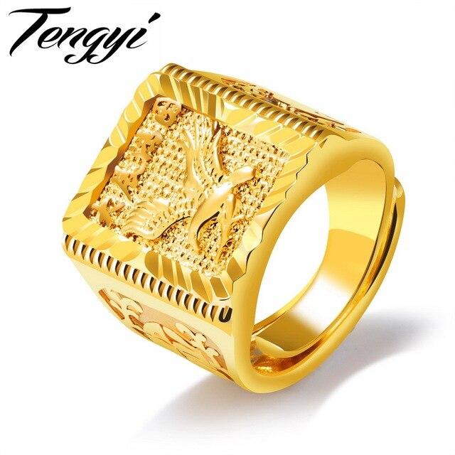 cb8e67237ef2 Tengyi águila diseño hombres anillo 20mm gran lujo oro color dedo anillo  de dedo de cobre