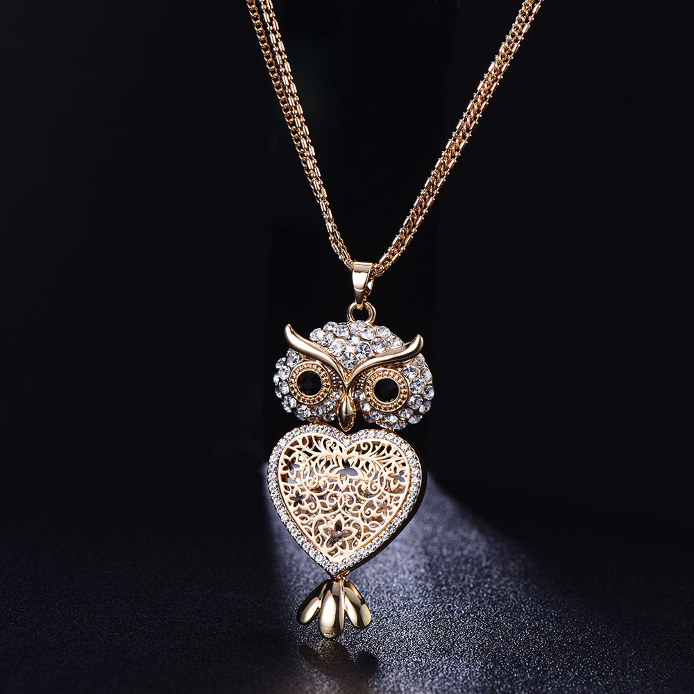 Clear Crystal Owl Necklaces Pendant Hollow Owl Heart Pendants Women Long Multi Chain Statement Necklace Jewellery Party Gift