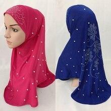 Новые удобные эластичные переплетенные пряжа мгновенный мусульманский цельный хиджаб жемчуг горячей фиксации Стразы