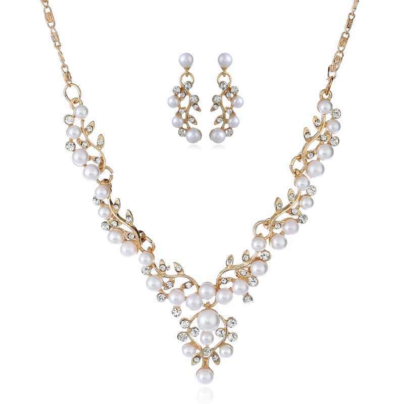 XIYANIKE 2018 New Fashion Elegant Flower Simulated Pearl Bridal Jewelry Sets For Women Wedding Jewelry Gift Accessories N224
