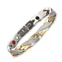 Fashion Womens Health Energy Bio Magnetic Negative Ion Germanium Bracelet Mens Stainless Steel Bracelets