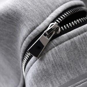 Image 5 - Sudaderas con capucha grises Minglu, sudaderas con capucha de tela combinada de lujo para hombre, sudaderas de talla grande 3XL 4XL, sudadera ajustada para primavera para hombre