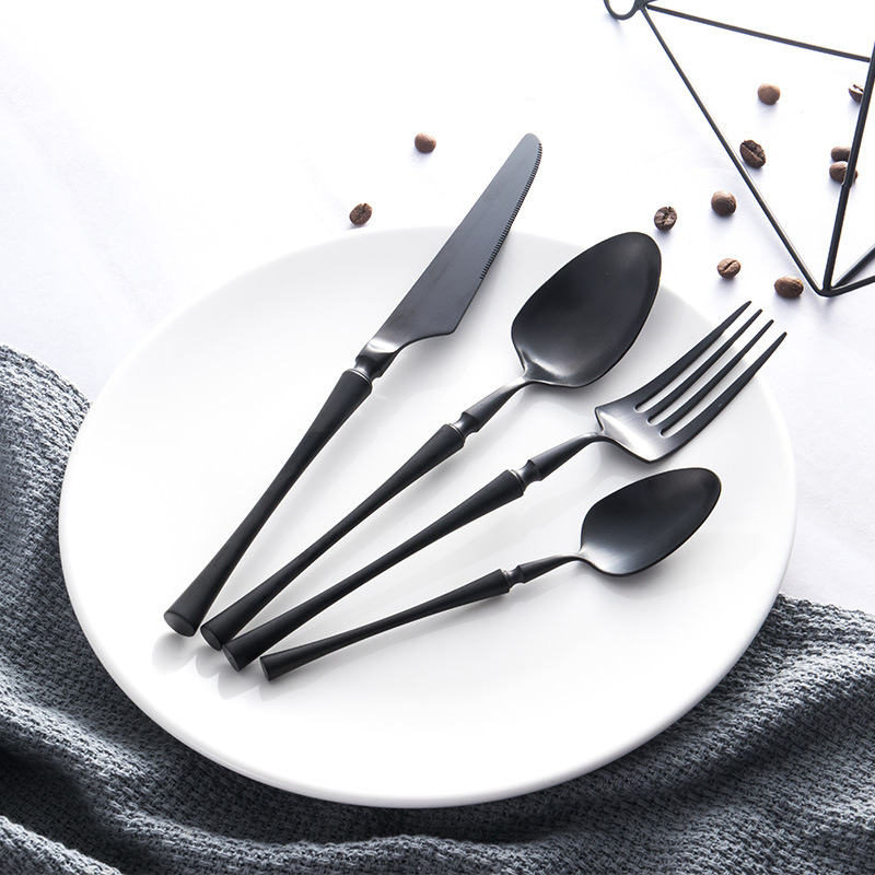 Wholesale Spoon Black Gold Cutlery Set Fork Spoons Knives Christmas Dinnerware 24pcs set Stainless Steel Dinner