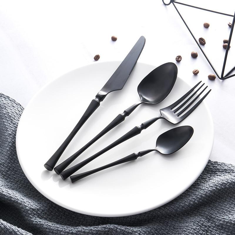 Wholesale Spoon Black Gold Cutlery Set Fork Spoons Knives Christmas Dinnerware 24pcs set Stainless Steel Dinner