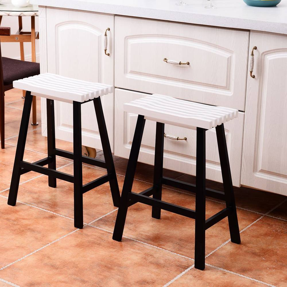 2pcs 24 Inches Pine Wood Saddle Seat Bar Stool Dining Chairs dropshipping