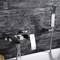 Brass Waterfall Bathroom Hot And Cold Water Bath Tub Mixer Rotary Shower Faucet Torneira Banheiro HP5006