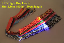 B09 Camouflage Pet dog LED leahses leads pet traction rope pull strap for dogs cats 120cm length battery and USB Rechargeable(China)