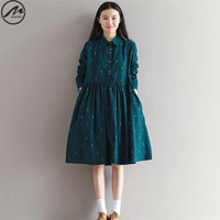 MIWIMD Big Size Women S Autumn Dresses 2017 New Fashion Vintage Loose Printing Long Sleeves Casual