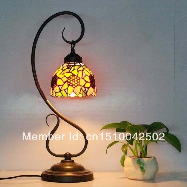 De vidro da lâmpada Tiffany-estilo Europeu jardim sala de estar sala de jantar girassol estandes de Café Mesa de Bar Lâmpada DIA 22 CM H 54 CM