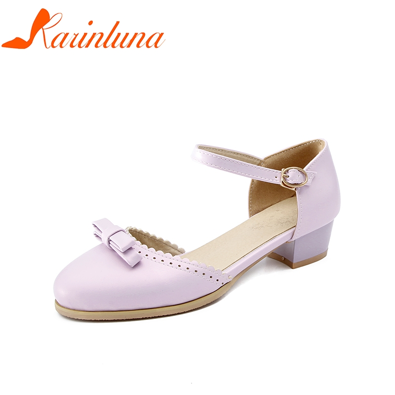 a38bd8458547 Plus Chunky Spring Fashion Summer KARINLUNA Heel Bowtie Sandals Women Shoes  43 Buckle 30 Woman Mid ...