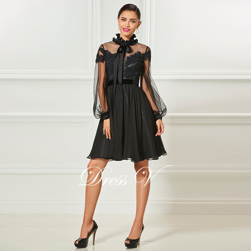 82a5ead7ec676 US $96.17 45% OFF|Dressv black high neck elegant cocktail dress long  sleeves appliques knee length wedding party dress chiffon cocktail  dresses-in ...