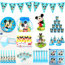 Disney Mickey Mouse Kids Birthday Party Decoration Tableware Set Party Supplies Cup Plate Banner Straw Loot bag Napkin Blowout(China)