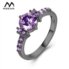 MDEAN oro rosa Color Purple anillo piedra AAA Zircon joyería para las mujeres de compromiso de boda bague bijoux tamaño 5 6 7 8 9 10 11 12H083