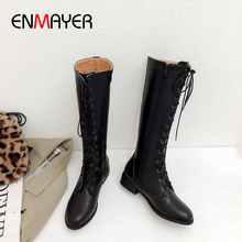 ENMAYER Cross-tied Cheap Women's Boots Zip Mid-Calf Round Toe Hoof Heels PU Snow Boots Winter Motorcycle Boots Black Boots Woman недорого