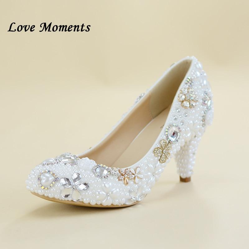 Momente dashurie Zonja Këpucë dasme grua 6cm Këpucë thembra të hollë perla të bardha Këpucë rruaza Nusja këpucë fustani fustan femër