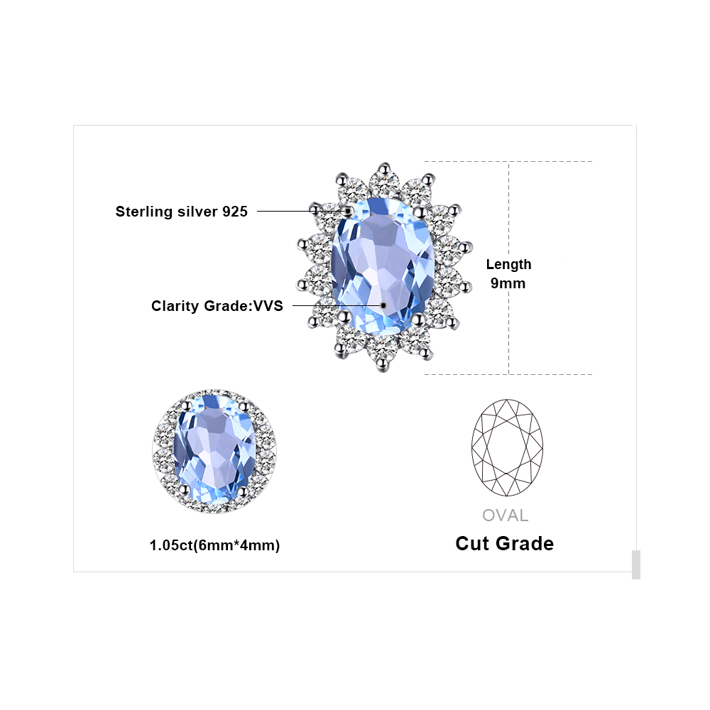 JewelryPalace Natural Topaz Gemstone Sırğalar Stud Orijinal 925 - Gözəl zərgərlik - Fotoqrafiya 5