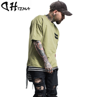DHTEMA Original Design Hip Hop T-Shirt Men Fashion New Brand Clothing Streetwear Casual O-Neck Solid Loose Hiphop Male T shirt