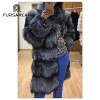 FURSARCAR Natural Real Silver Fox Fur Coats Women 2018 Winter Genuine Fox Fur Jacket With Stand Collar 100 CM Long Fur Outerwear