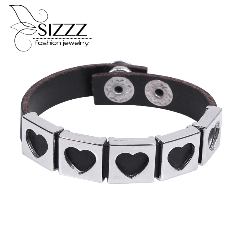 Fashion Jewelry Stainless Steel Heart Charms Braided Leather Womens Bracelet