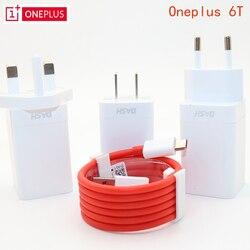 Оригинальный EU US UK ONEPLUS 6 T быстрое зарядное устройство One plus 6 смартфон 5 В/4A Быстрая зарядка USB настенный адаптер питания, 2 м быстрое зарядное ...