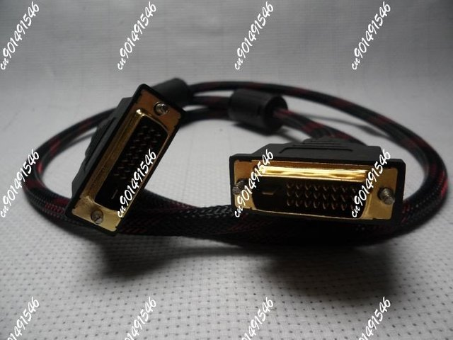 Free Shipping+20pcs/lot 10m/50ft DVI to DVI extension cable male GOLD