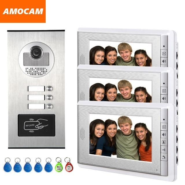 """2/3/4 Units Apartment intercom system Video Door Phone Intercom Kits Aluminum Alloy Camera 7"""" Monitor video Doorbell 7 ID keyfob"""