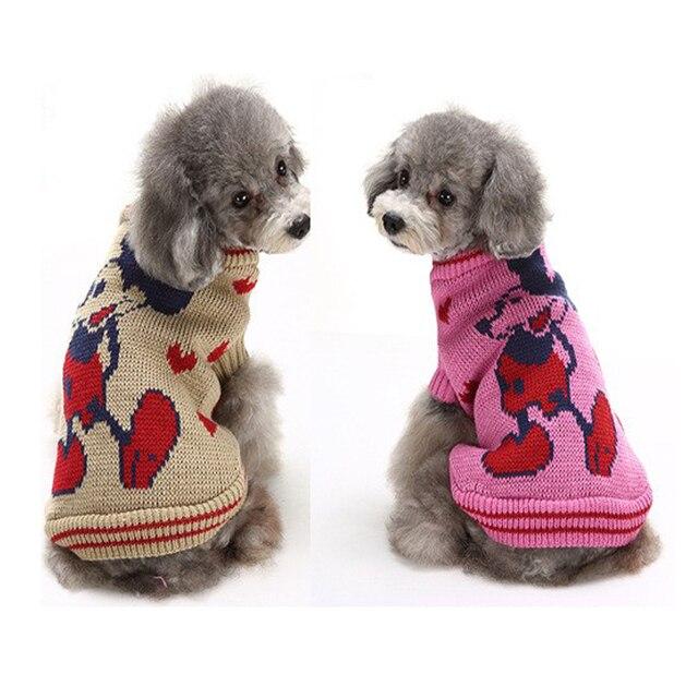 Invierno ratón patrón de dos pierna perro suéter de punto suéter de ...