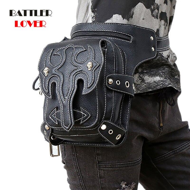 Steampunk Bags Gothic Waist Bags Packs Retro Rock Leather Women Fashion Men Punk Hip Hop Motor 2019 Shoulder Messenger Leg Bags
