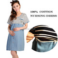 Breast Feeding Dresses  Maternity Clothes For Pregnant Women Pregnancy Striped Nursing Clothes Tops Breastfeeding Gravida Summer
