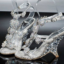 Female Wedge Heel Sandals banquet princess diamond crystal shoes Evening Prom Party Dresses Lady Bridal Wedding Shoes