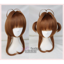 Card Captor Sakura CLEAR KINOMOTO SAKURA Cosplay Cute Brown Golden Hair Wig Halloween
