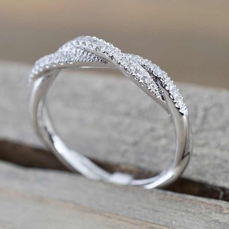 Iparam padrão torcido corda cânhamo flores anel chapeamento rosa ouro prata micro cúbico zircônia cauda anel moda jóias femininas