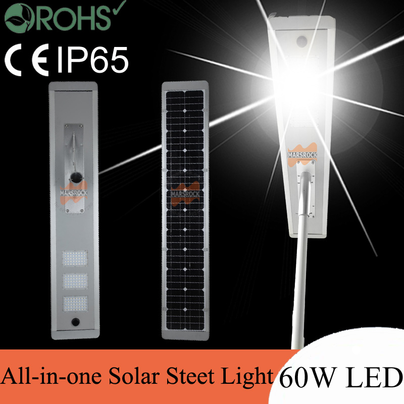 60W LED Solar Power Street Light 90W Solar Panel 48Ah Battery All in one, solar auto sensor light, integrated solar street light