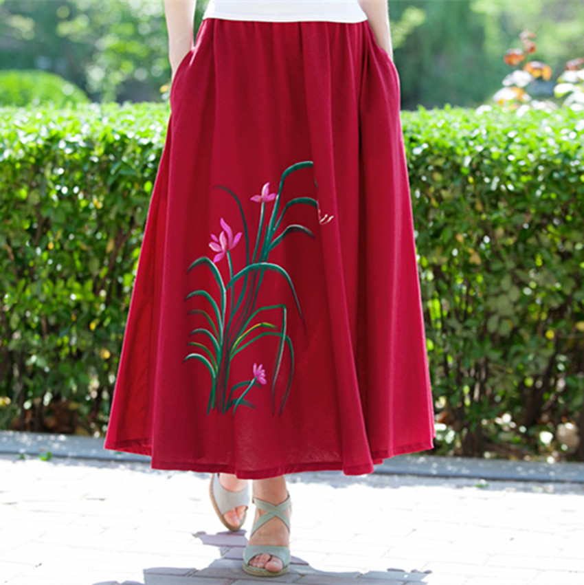 599faef10568 2017 New Fashion printed midi skirt women big swing long skirt ethnic folk  custom linen skirts ankle Length women skirts-in Skirts from Women's  Clothing on ...